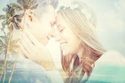 summer holidays, love, romance and people concept - happy smiling young hippie couple hugging over beach background with double exposure effect