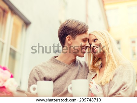 summer holidays, love, travel, tourism, relationship and dating concept - romantic happy couple in the cafe #205748710