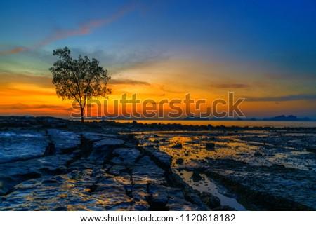 Summer holidays travel Tropical beach at sunset