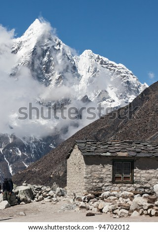 Summer house in the mountain region of the himalayas - Mt. Everest region, Nepal