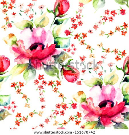 Summer illustration of Roses flowers seamless wallpapers