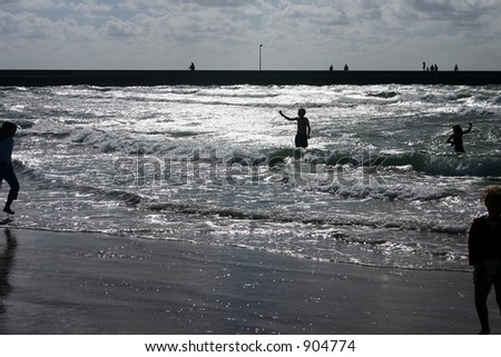 summer in denmark:beach of loekken, people on the beach