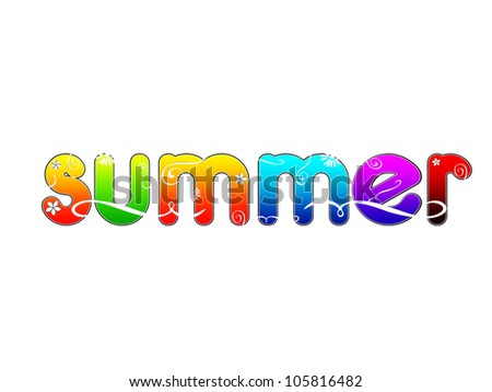 summer isolated colorful  text with floral ornaments