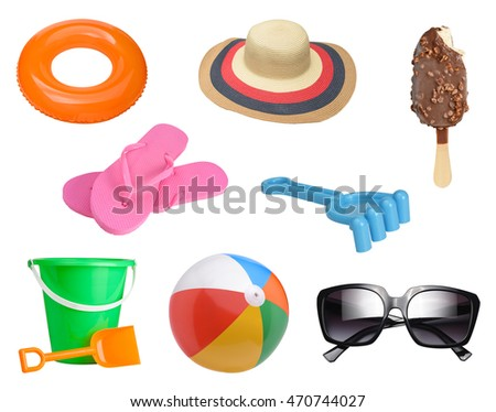 Summer items collection isolated on white background #470744027
