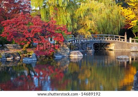 summer japanese landscape with pond and trees. Nagoya, Zurumai