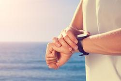Summer jogging on a sea shore.