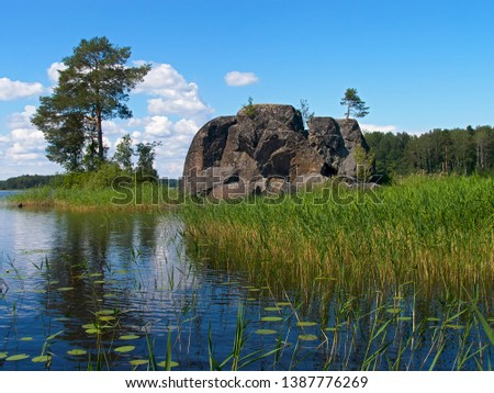 Summer. Lake. In the water is a huge stone, surrounded on all sides by green grass. Behind him is a small island with trees. Blue sky with white clouds. #1387776269