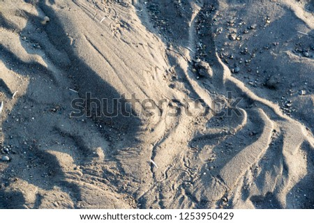 Summer landscape. A drawing on the sand created by water and wind. Footprints in the sand say a lot: love, happiness and life itself. #1253950429
