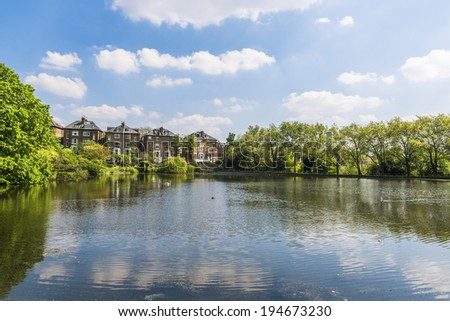 Summer landscape around a small lake in the suburbs of London, UK