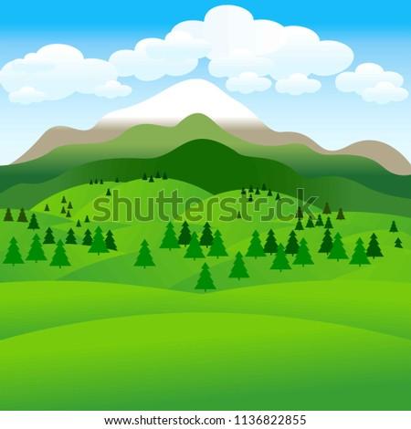 Summer landscape. Background. Illustration.
