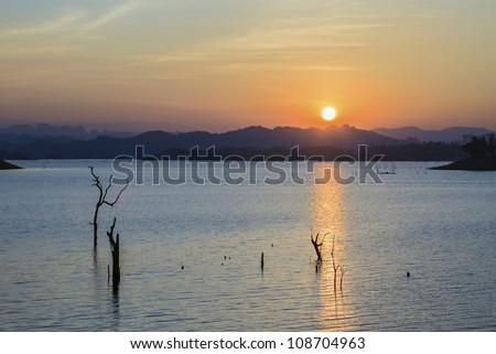 Summer landscape: beauty sunset over the river