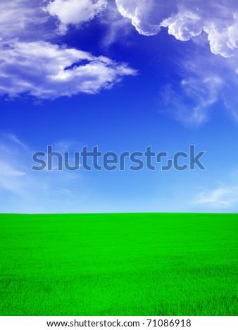 Summer landscape - green field an blue sky