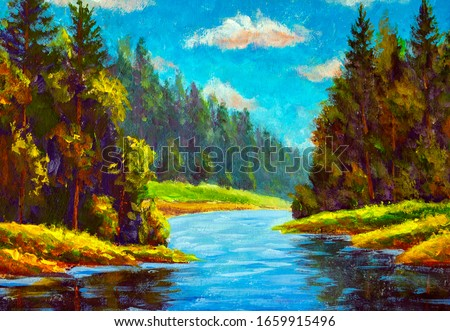 mountains trees and sky Original realistic painting with river Original watercolor summer mountain landscape with a pond Nature art.