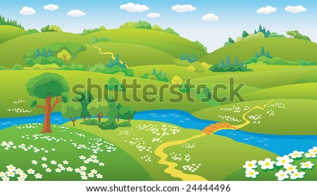 Summer Landscape, hills and the river on the plain, illustration