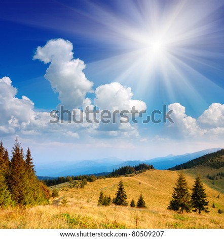 Summer landscape in mountains with the cloudy sky