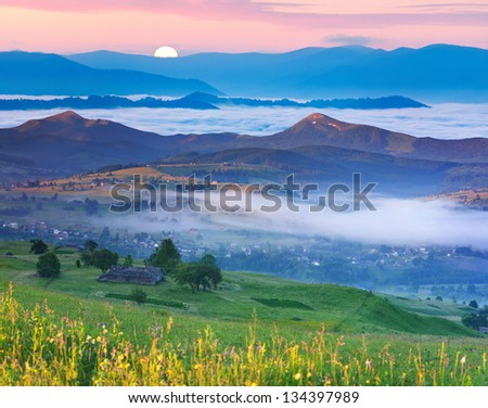 Summer landscape in the Carpathian mountains village. Ukraine, Europe.