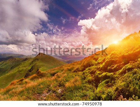 Summer landscape in the mountains. Sunset #74950978