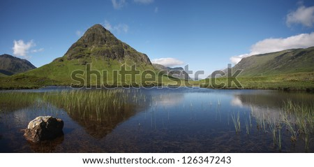Summer landscape in the world famous Glencoe in Lochaber in the Scottish Highlands.