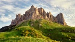 Summer landscape. Mountain with rocky peak Big Thach in summer season, Adygea, Russia.