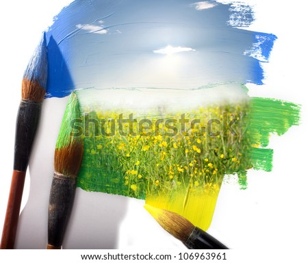 Summer landscape of a field with yellow colors. Painting imitation.