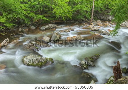 Summer landscape of the Little River rapids, Great Smoky Mountains National Park, Tennessee, USA
