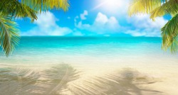 Summer landscape of tropical island. Branches of palm trees create shade in sand. Dazzlingly bright sun. Horizon is sof blurred. Transition of sandy beach to turquoise water.