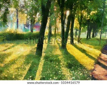 Summer landscape. The trees in the Park, a shadow on the grass. Watercolor. For printing on ceramics and fabric.