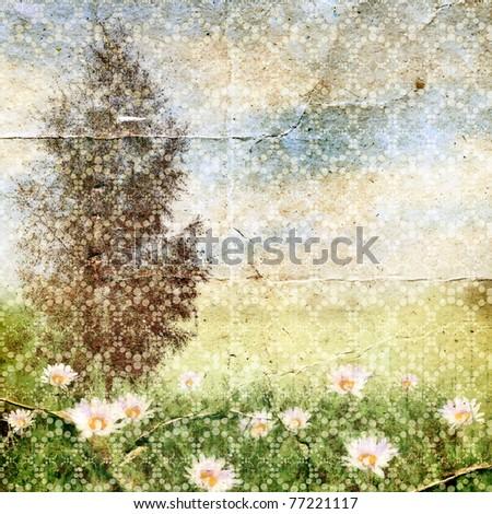 Summer landscape. Vintage background for design.