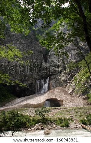 summer landscape waterfall Gegsky Gagra ridge of the Caucasus Mountains in Abkhazia