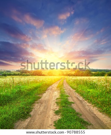 Summer landscape with beautyful sunligth green grass, road and clouds
