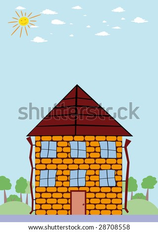 cartoon house door. stock photo : Summer landscape with cartoon house and smiling sun