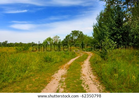 summer landscape with countryside road in steppe
