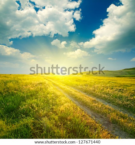 Summer landscape with green grass, road and clouds #127671440