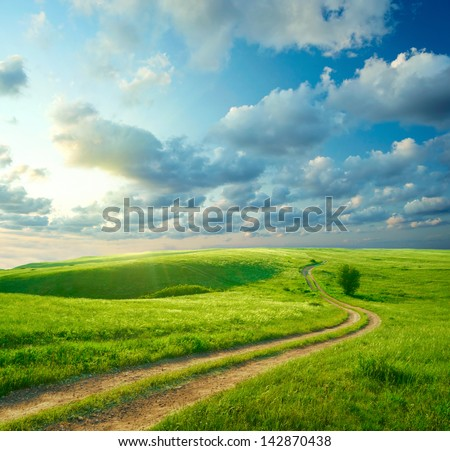 Summer landscape with green grass, road and clouds #142870438