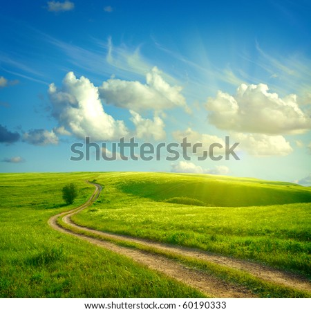 Summer landscape with green grass, road and clouds #60190333