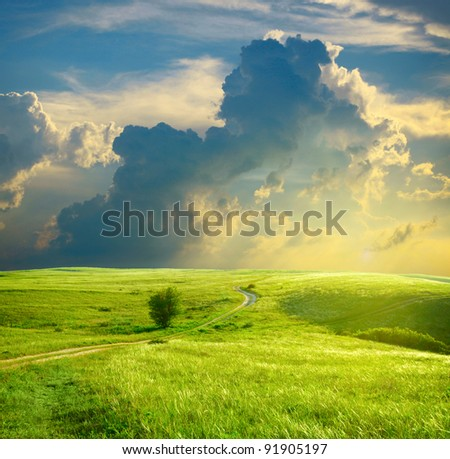 Stock Photo Summer landscape with green grass, road and clouds