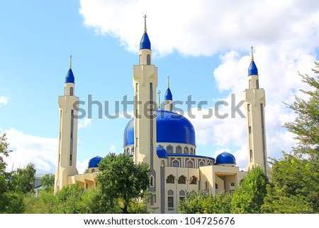 Summer landscape with Islam temple of the South Russia