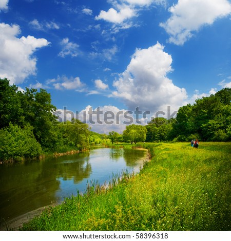 summer landscape with river and blue sky #58396318