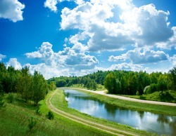 Summer Landscape with River and Clouds