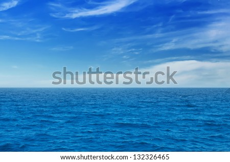 Summer landscape with sea and horizon over water #132326465