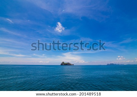Summer landscape with sea and horizon over water