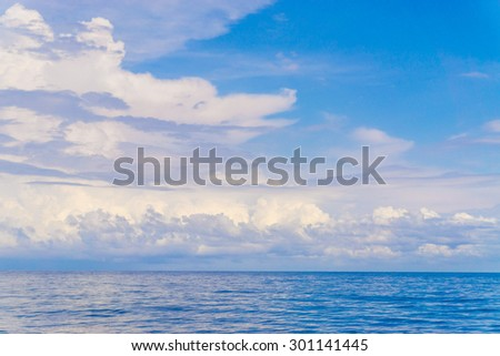 Summer landscape with sea and horizon over water, sea and sky background