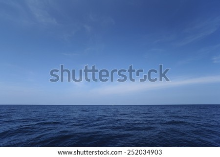 Summer landscape with tropical deep sea and horizon over water