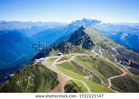 Summer landscapes of the Caucasus mountains in Rosa Khutor, Russia, Sochi, Krasnaya Polyana. Peak 2320m