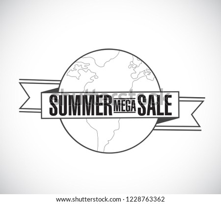 summer mega sale line globe ribbon message concept isolated over a white background