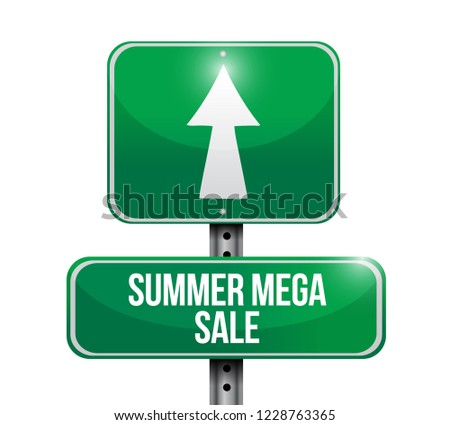 summer mega sale Street sign message concept illustration isolated over a white background