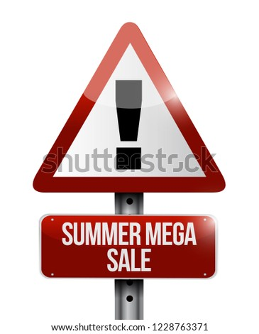 summer mega sales Street sign message concept illustration isolated over a white background