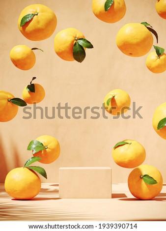 Summer mockup concept for beverage presentation. Beige podium and orange on beige background. Clipping path of each element included. 3d rendering illustration.