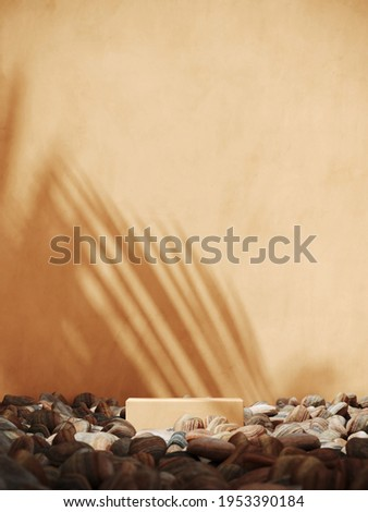 Summer mockup concept for product presentation. Brown podium and pebble on brown stucco background. Clipping path of each element included. 3d rendering illustration.