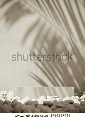 Summer mockup concept for product presentation. White podium and pebble on white stucco background. Clipping path of each element included. 3d rendering illustration.  ストックフォト ©